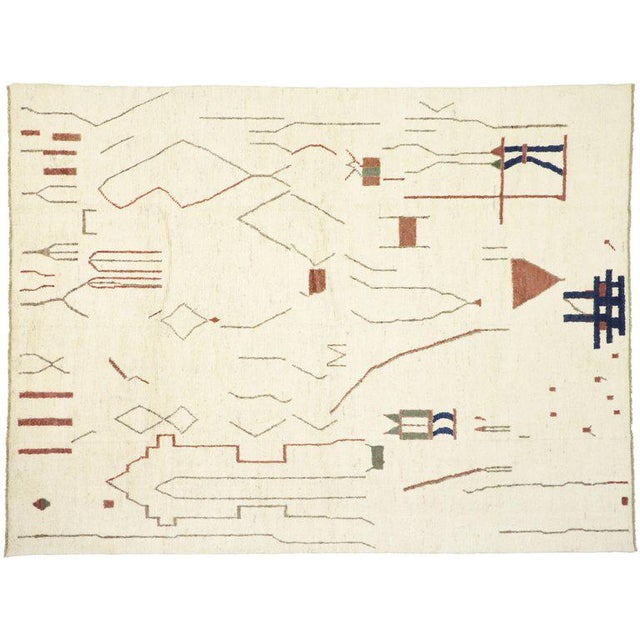 """Brutalist Contemporary Moroccan Style Rug - 10′3"""" × 13′6″ For Sale - Image 3 of 9"""