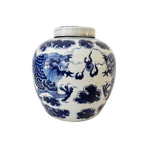 Blue & White Ginger Jar w/ Dragon For Sale - Image 4 of 9