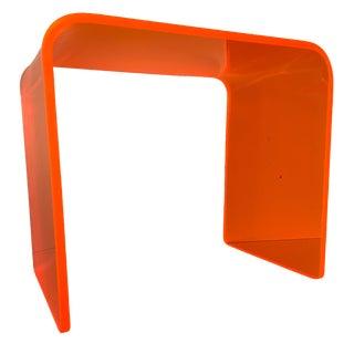 Memphis Lit Neon Orange Side Table For Sale