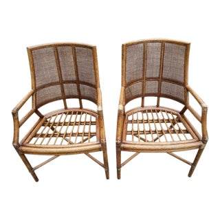 Vintage Mid-Century McGuire Bamboo Rattan Side Chairs - A Pair