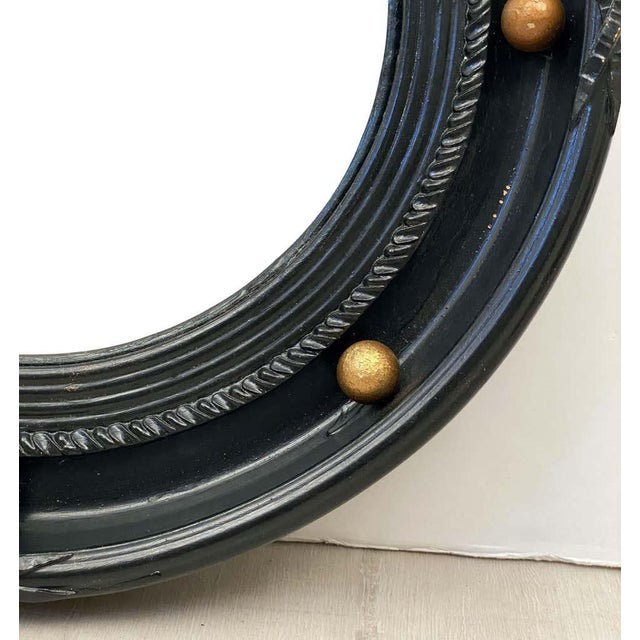 English Round Ebony Black and Gold Framed Convex Mirror For Sale - Image 9 of 13