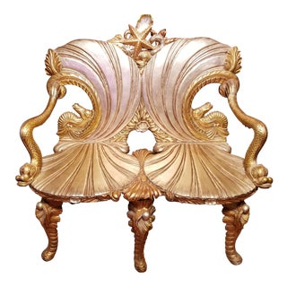 Vintage Mid Century Venetian Grotto Style Gilt Carved Wood Settee For Sale