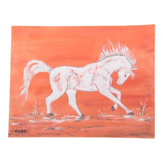 Chinoiserie White Horse Painting by Cleo Plowden For Sale