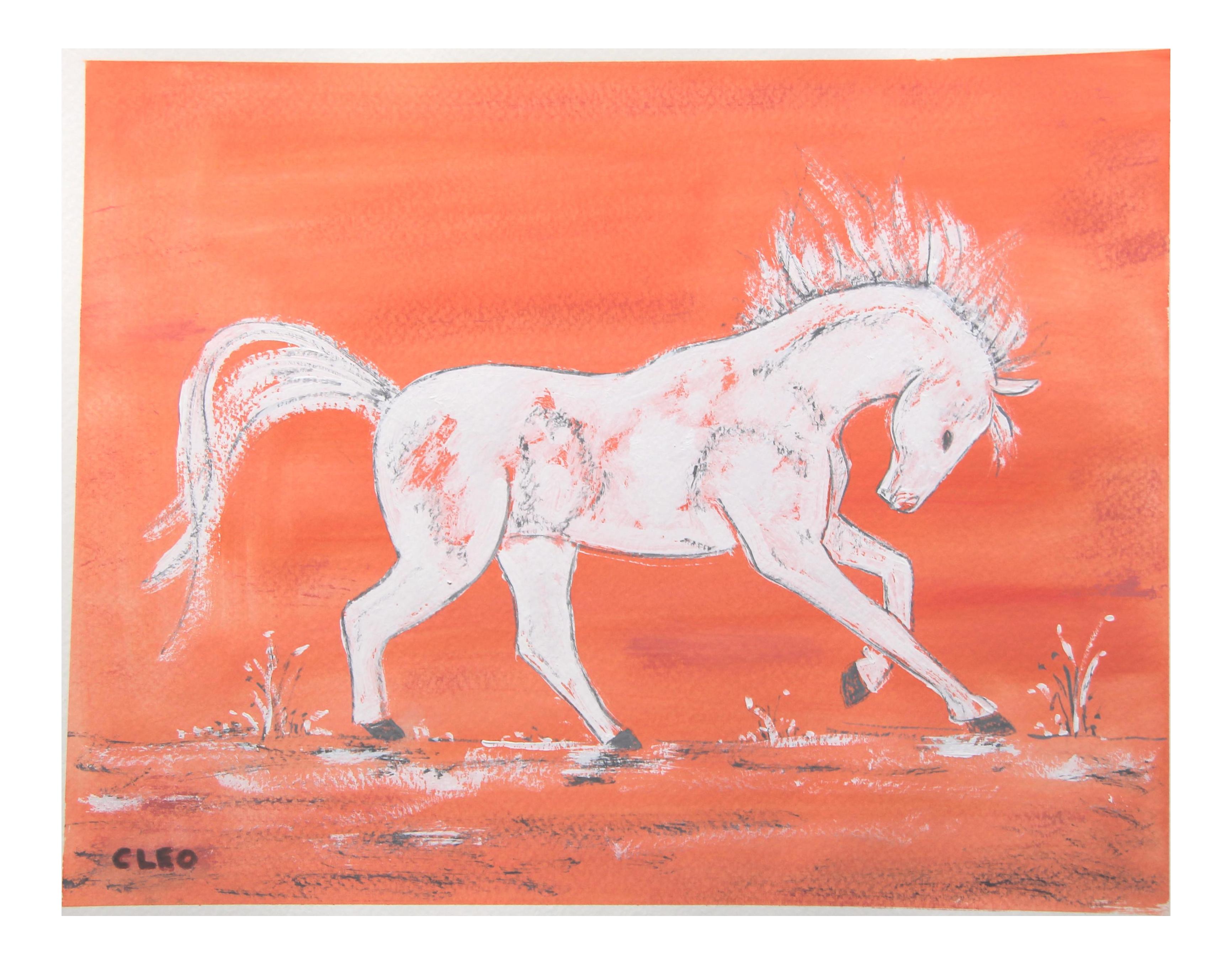 Chinoiserie White Horse Painting By Cleo Plowden Chairish