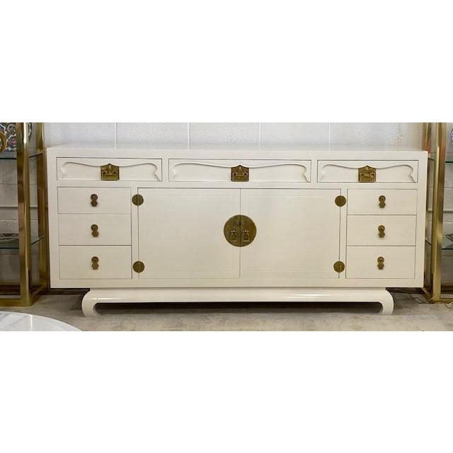 Henredon Chinoiserie Painted White Credenza For Sale - Image 10 of 10