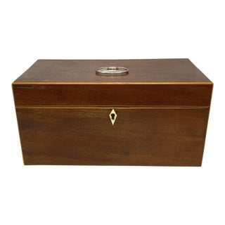 Antique George III Tea Caddy Box, Mahogany and Satinwood Banding, English, 1780 For Sale