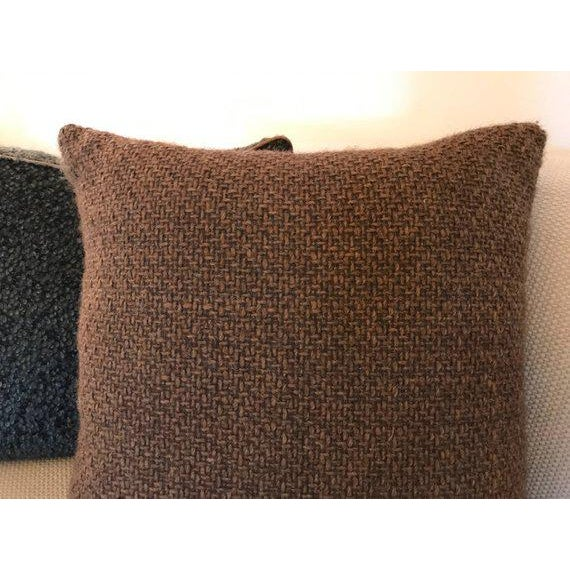 Traditional Transitional Brown Chunky Woven Pillow For Sale - Image 3 of 4
