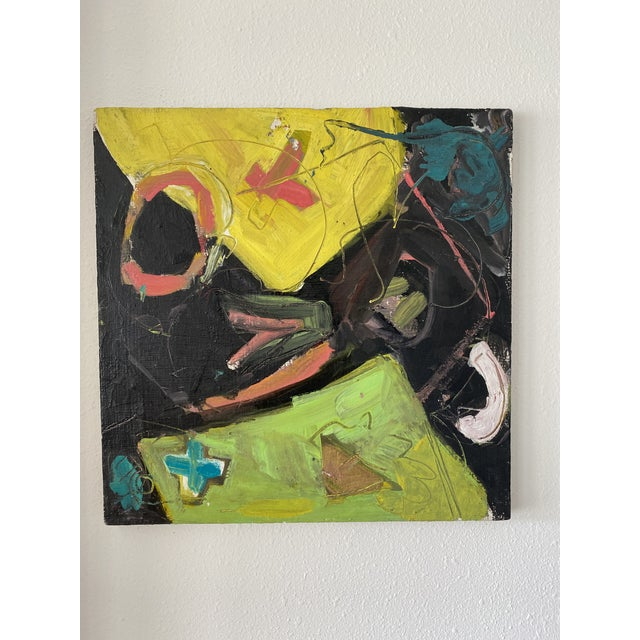 Vintage Postmodern Abstract Sgraffito Oil Painting For Sale - Image 13 of 13