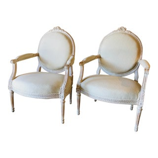 1930s French Painted Fauteuils - a Pair For Sale