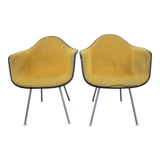 Vintage Eames for Herman Miller Upholstered Dax Chairs - A Pair For Sale
