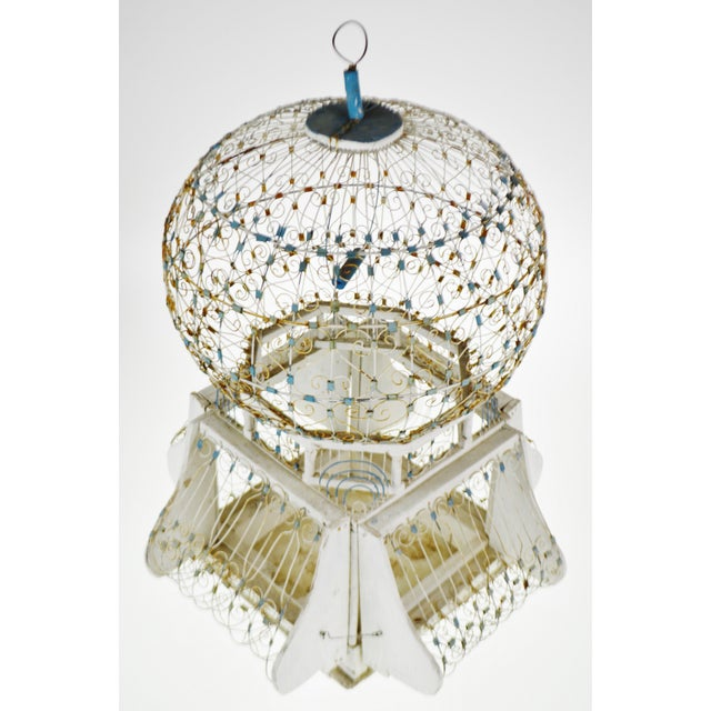 Mediterranean Antique French Victorian Dome Top Wire Bird Cage For Sale - Image 3 of 13