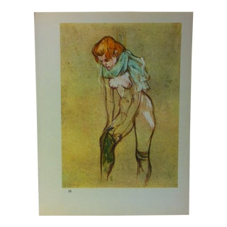 """Circa 1980 """"Woman Pulling on Her Stocking 1894"""" Color Print of a Toulouse-Lautrec Drawing For Sale"""