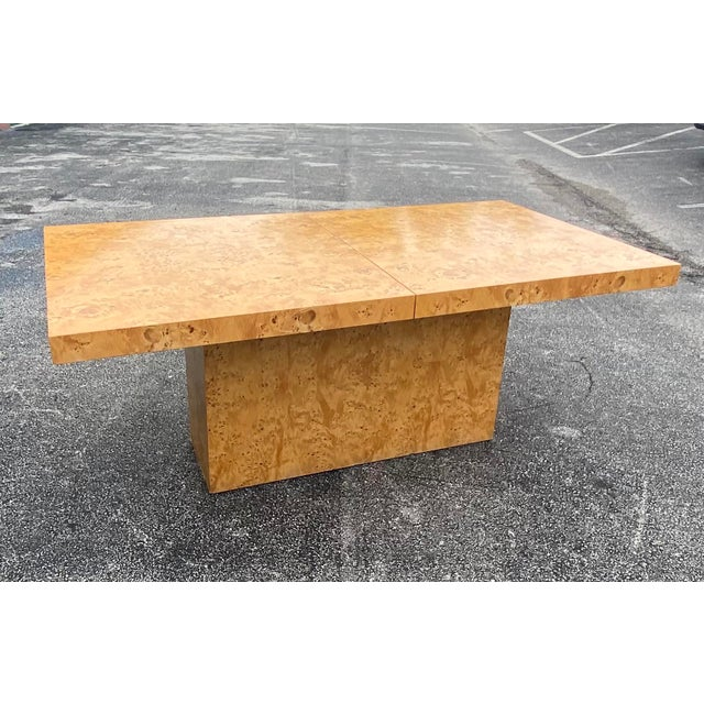 Dillingham MidCentury Dillingham Burl Wood Dining Table For Sale - Image 4 of 12