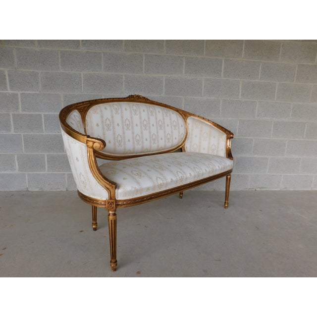 """Quality Louis XVI Style Gilt Frame Settee Sofa 57""""w For Sale - Image 9 of 13"""