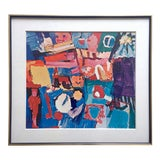 """Image of Grace Hartigan Rare Vintage 1970 Mid Century Modern Framed Abstract Expressionist Collector's Lithograph Print """" Billboard """" 1957 For Sale"""