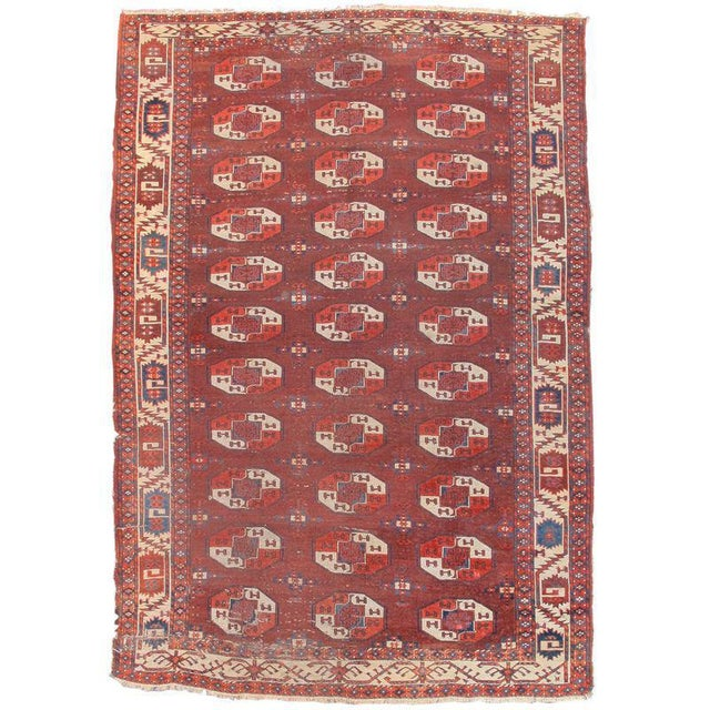 Drawing is refined and spacing superb in this early Yomut group Turkmen main carpet. Color is saturated and sophisticated....