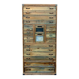 Late 20th Century 24 Drawer Reclaimed Wood Apothecary Style Cabinet For Sale