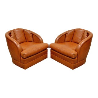 Pair of Vintage Mid Century Modern Sherrill Barrel Back Vinyl Club Lounge Chairs