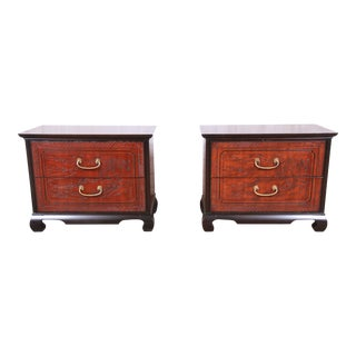 Drexel Heritage Hollywood Regency Chinoiserie Mahogany Nightstands - a Pair For Sale