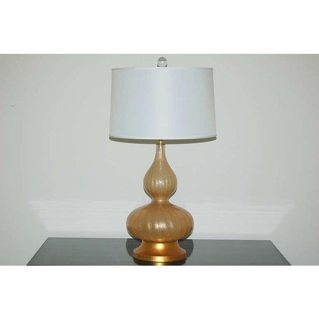 Vintage Murano Glass Eglomise Table Lamps in Gold For Sale - Image 4 of 10