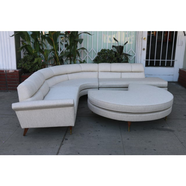1960s Mid Century Modern 4 Piece Sectional and Ottoman - Set of 4 For Sale - Image 10 of 10