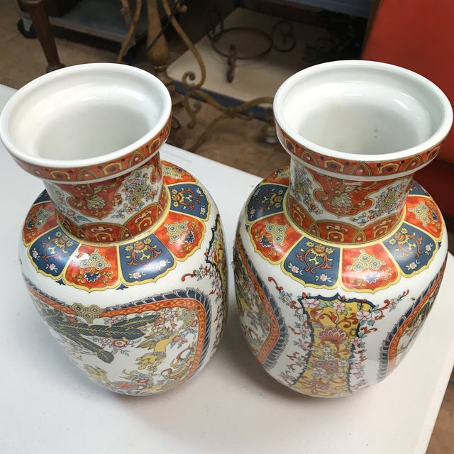 Ardalt Chinoiserie Hand Painted Vases - A Pair For Sale - Image 9 of 10