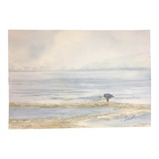 "Nancy Smith Original Watercolor Seascape ""Standing Eagle"" For Sale"