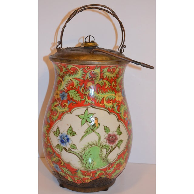 Metal John-Richard Red Chinoiserie Porcelain and Brass Urn For Sale - Image 7 of 10