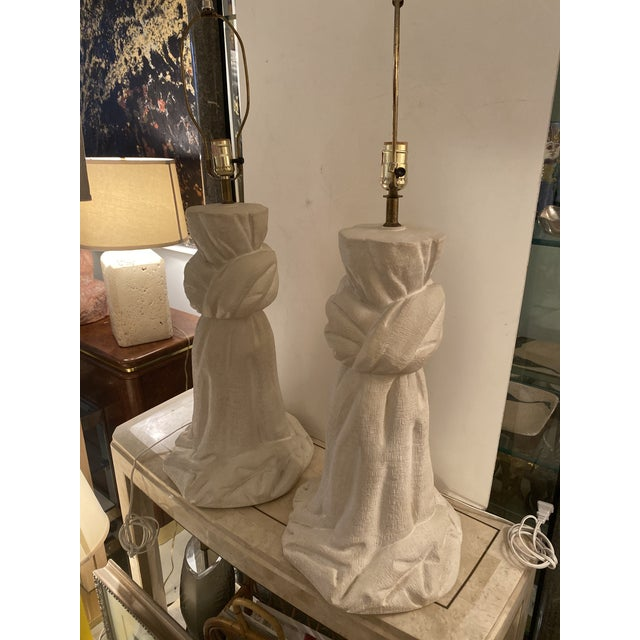 Pair of Plaster Lamps on the Style of John Dickinson For Sale - Image 12 of 13