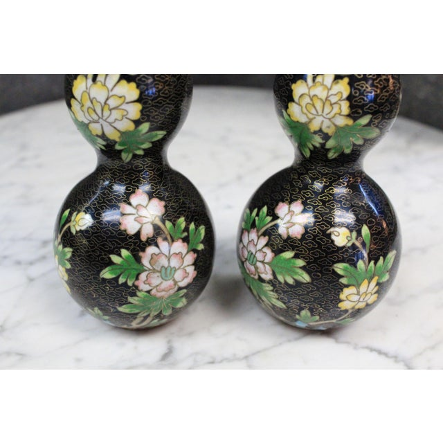 Asian Asian Style Cloisonne Bottles - a Pair For Sale - Image 3 of 8