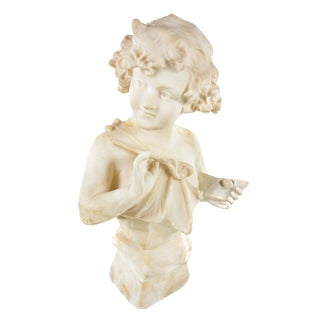 19th Century Antique Alabaster Sculpture of a Young Painter For Sale