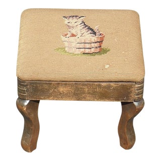 Antique Rustic French Country Provincial Kitty Cat Tan Tapestry Footstool