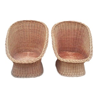 1960's Vintage Wicker Scoop Chairs- A Pair For Sale