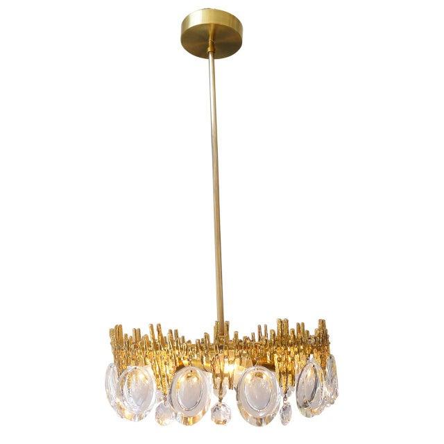 Brutalist Gilt Brass & Crystal Brutalist Ceiling Fixture by Palwa For Sale - Image 3 of 6