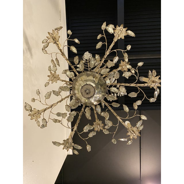 1930s French Silver Leaves Chandelier For Sale - Image 4 of 9