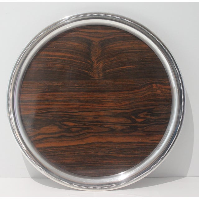 Silver Vintage Sheffield Serving Tray Silver Plate & Faux Rosewood Laminate For Sale - Image 8 of 8