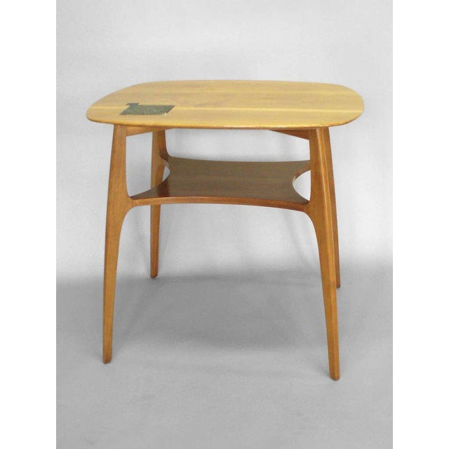 Americana Edward Wormley for Dunbar Occasional Table With Tiffany Tile For Sale - Image 3 of 7