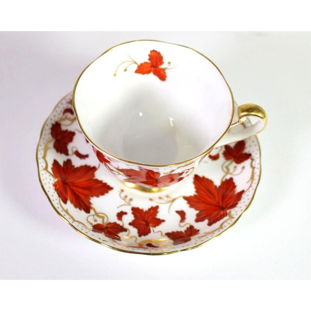 1950's Royal Chelsea English Fine Bone Porcelain China Maple Leaf Tea Cups & Saucers - Set of 5 For Sale - Image 4 of 8