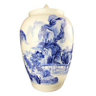 "Lg Chinoiserie Blue and White Porcelain Ginger Jar 21"" H For Sale"