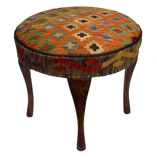 Arshs Crissy Orange/Blue Kilim Upholstered Handmade Ottoman For Sale