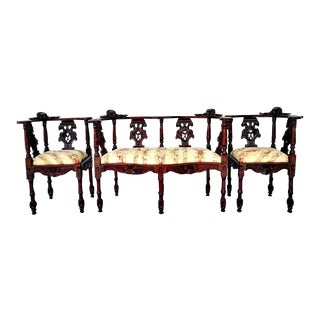 Fine Hand Carved Victorian Baroque-Style Parlor Set 2 Corner Chairs & Settee For Sale