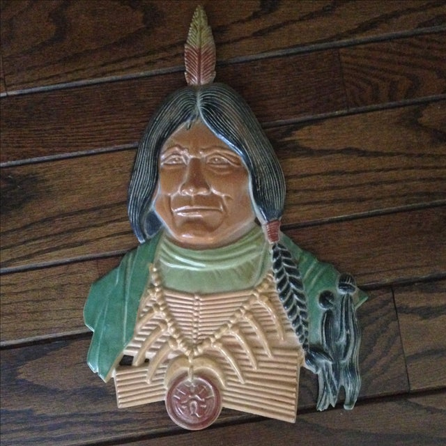 Vintage Metal Native American Wall Plaques - Pair - Image 4 of 11