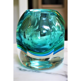 Flavio Poli Faceted Murano Sommerso Glass Vase Preview