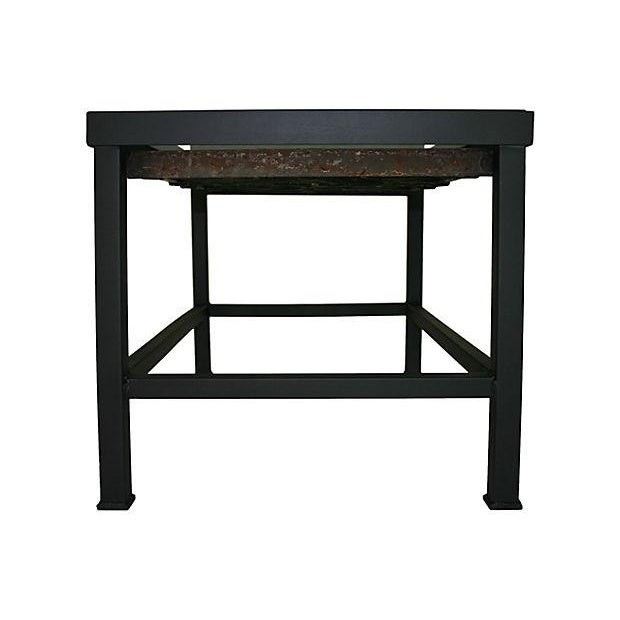 Coffee Table With Antique Iron Scroll Work For Sale - Image 4 of 6