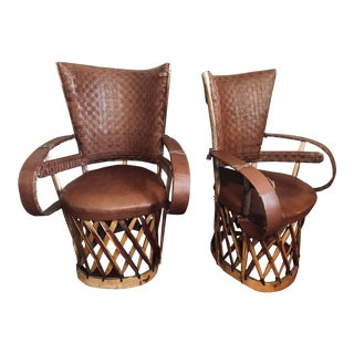 Modern Leather High Back Equipale Chairs- A Pair For Sale