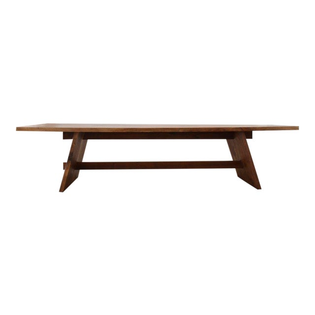 Ozshop Walnut Slab Campaign Style Dining Table For Sale