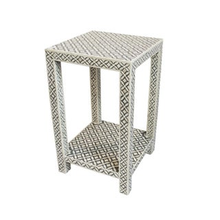 Bone Inlay Gray Side Table For Sale