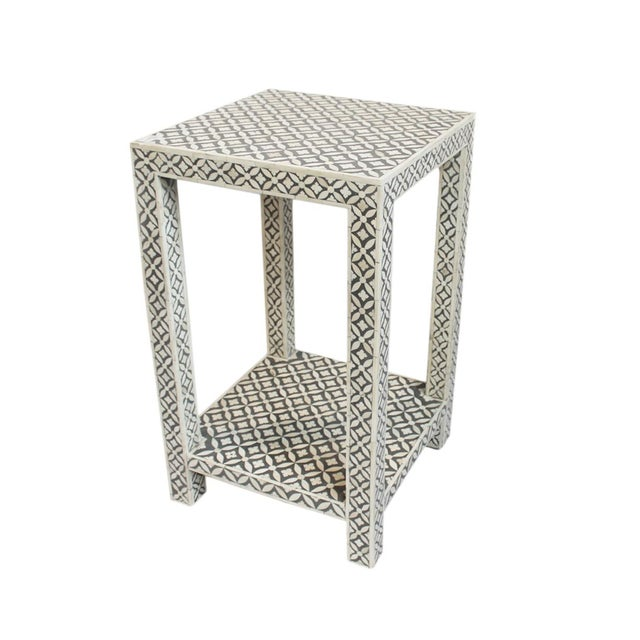 White And Gray Bone Inlay Accent Table: Bone Inlay Gray Side Table