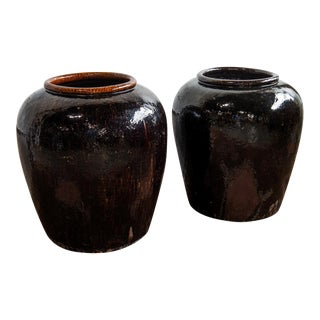1960s Near Pair of Vintage Chinese Glazed Black Ceramic Pots - Sold as a Pair For Sale