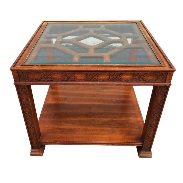 Chinese Chippendale Wood Fretwork Side Table - Image 1 of 7